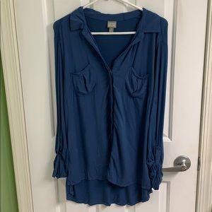 Blue button down shirt size large